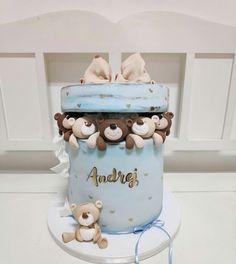 21 Ideas For Baby Boy Baptism Teddy Bears Baby Boy Birthday Cake, Baby Boy Cakes, Birthday Cookies, Cakes For Boys, Girl Cakes, Pretty Cakes, Cute Cakes, Beautiful Cakes, Deco Baby Shower