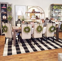 Wonderland by Alice Lane | Christmas decor with black and white buffalo check rug