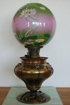 Antique Victorian GWTW Old Arts and Crafts Art Nouveau Deco Kerosene Oil Lamp | eBay