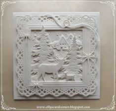 handmade greeting card from Elly's Card- Corner ... all white die cut winter scene ... 3d Christmas, Christmas Cards To Make, Christmas Makes, Xmas Cards, White Christmas, Handmade Christmas, Holiday Cards, Memory Box Cards, Poinsettia Cards