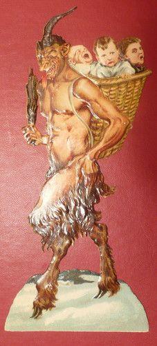 VINTAGE KRAMPUS DEVIL CHRISTMAS DIE CUT RARE CHILDREN IN BASKET | eBay
