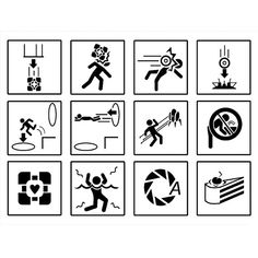 Portal Chamber Warnings Vinyl Sticker Set of 12 Aperture Science, Portal 2, You Monster, Video Game Memes, Gamer Room, Geek Out, Warning Signs, Pictogram, Geek Stuff
