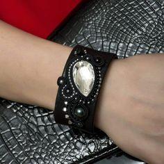 Black Cuff Bracelet Large Leather Bracelet Soutache Jewelry by AMdesignSoutache