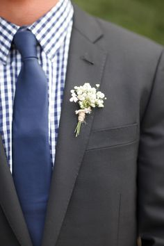 Want this color for Dane and groomsmen. Dane in three piece suit and groomsmen in vests and dress shirts. Also like the boutonniere. Wedding Groom, Wedding Suits, Wedding Attire, Wedding Table, Babys Breath Boutonniere, Groom Boutonniere, Wedding Bouquets, Wedding Flowers, Flower Bouquets