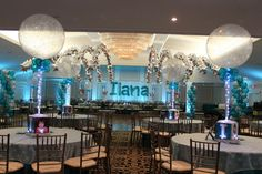 Silver & Teal Themed Bat Mitzvah with LED Uplighting, Sparkle Balloon Centerpieces & Name in Balloons Sculpture at Fairlawn Jewish Center, NJ