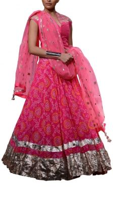 Hot Pink Jaipur Bandhini Lehenga Set | Strandofsilk.com - Indian Designers
