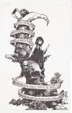"""""""When the first living thing existed, I was there, waiting. When the last living thing dies, my job will be finished. I'll put the chairs on the table, turn out the lights, and lock the universe behind me as I leave."""" ~Death, The Sandman  chris bachalo rough pencils 