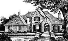 Elevation of French Country   Tudor   Victorian   House Plan 66034