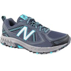 New Balance Women's 410v5 Grey Vivid Ozone - 6 B Women's Shoes ($55) ❤ liked on Polyvore featuring shoes, athletic shoes, grey, new balance footwear, laced up shoes, new balance shoes, grey shoes and new balance