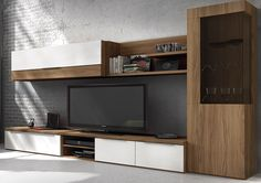 Salones modernos | muebles BOOM | 052 SAL MOD 17. Tv Unit Design, Tv Wall Design, House Design, Built In Furniture, Home Furniture, Above Fireplace Ideas, Tv Wall Cabinets, Muebles Living, Office Interiors