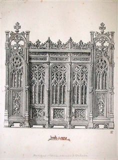Pugin: Gothic Furniture in the Style of the 15th Century London: 1835 http://special.lib.gla.ac.uk/teach/gothic/puginbookcase.html