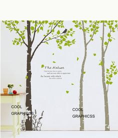 3 Birch Trees - 102 inches - Vinyl Wall Decal Sticker Art, Mural,Wall Hanging. $75.00, via Etsy.