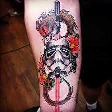 nice twist on a storm trooper   from Star Wars  Tattoo, May the force be with you, princess leia, luke skywalker, darth vadder, hans solo, chewy, lando, R2D2, C3PO, jabba the hut, lando, death star, yoda, ewaks, obi one kenobi, dark side, wookie, light saber, millennium falcon, Admiral Ackbar, anakin skywalker, at-at walker, bantha, BB-8, boba fettm , Chewbacca,   www.talesofthetatt.com