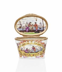 MEISSEN GOLD-MOUNTED PORCELAIN SNUFF-BOX
