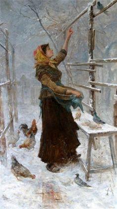 Girl Feeding Pigeons   James Crawford Thom (1835 – 1898)