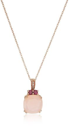 10K Rose Gold Natural Pink Opal with Rhodolite Garnet and Created White Sapphire Pendant Necklace, 18' *** Click image to review more details. (This is an Amazon Affiliate link and I receive a commission for the sales)