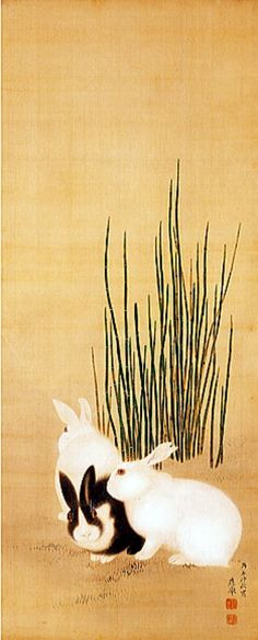 Peixes na astrologia, Coelho ou Lebre no horóscopo chinês MARUYAMA Okyo Japan 円山 応挙 Japanese Artwork, Japanese Painting, Japanese Prints, Art And Illustration, Rabbit Illustration, Art Chinois, Art Japonais, Rabbit Art, Bunny Art