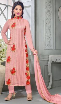 Wondrous Light Pink Designer Embroidered Faux Georgette Suit