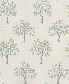 Willow (20-276) - Graham and Brown Wallpapers - Contemporary tree motif with metallic highlights. Willow is a blue, green, white and silver Motif vinyl wallpaper. Please request a sample for true colour match. Other colours available.