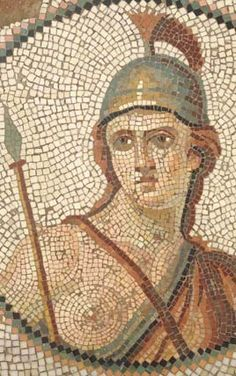 A Roman mosaic of Roma, the allegorical city of Rome