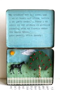 Black Beauty Horse Storybox, £95. Vintage upcycled sculpture by Little Burrow Designs, Claire Read, Textile, Tin art, Embroidery, Vignette, whimsical, miniature, mixed media, assemblage, Devon