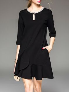 Black H-line Keyhole Ruffled Casual Mini Dress