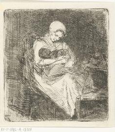 Vrouw zit met een kind in haar armen, Bernardus Johannes Blommers, , 1855 - 1914