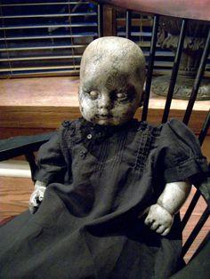Vintage Haunted Creepy Dark Spooky OOAK Altered Art Prop Doll Halloween Freak Scary. $70.00, via Etsy.