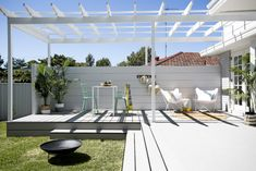 [ Alfresco Outdoor REVEAL 🌴] Remember the tiny little concrete porch? Me either 💪🏼 cladding Outdoor Areas, Outdoor Rooms, Outdoor Living, Three Birds Renovations, Backyard Renovations, Building A Porch, Backyard Pergola, Corner Pergola, Pergola Ideas