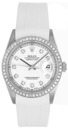Rolex Datejust Men's Stainless Steel Diamond Watch on White Strap Band 16220