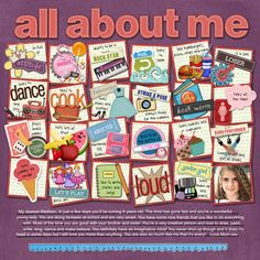 """This is such a great idea for an """"all about me"""" page. Because you can just put snippets of things on each square I think it takes the pressure off coming up with big stories about each thing you want to include. (hope that makes sense)"""