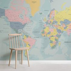 Political World Map Wallpaper | MuralsWallpaper Teenager Wallpaper, Teen Wallpaper, World Map Wallpaper, How To Hang Wallpaper, Normal Wallpaper, Photo Wallpaper, Wallpaper Murals, Childrens Wall Murals, Childrens Rooms