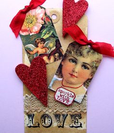 Vintage Valentine Love Tag is made with a hand dyed tag, stamped with Love rubber stamp, and embellished with vintage valentine images, glittered hearts, and crocheted ribbons.