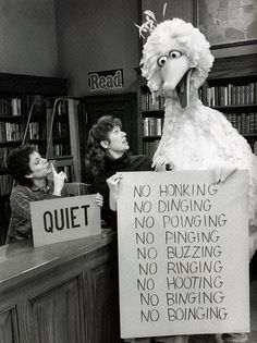 "WHO are you tellin' to obey>? ""Fuck Fuck Fuck The System"" Sesame Street Big Bird punk! Library Humor, Library Rules, Library Skills, Youre My Person, Big Bird, Memes, Decir No, Haha, Illustration"