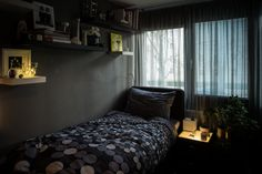 Gray Walls, Bookshelves, Man Cave, Relax, Mid Century, Bed, House, Furniture, Design