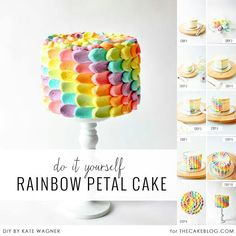Rainbow petal icing technique
