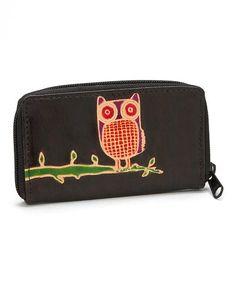 Look at this #zulilyfind! Black Owl Leather Zipper Wallet by ZAD #zulilyfinds