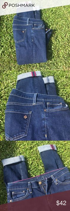 KATE SPADE SKINNY JEANS Dark denim. Kate spade skinny leg jeans. Excellent condition. Like new. No flaws. Run small. So they would fit a size 25 better in my opinion. kate spade Jeans Skinny