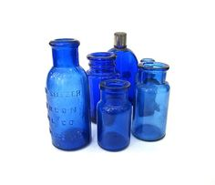 Small Cobalt Glass Bottles Instant Collection by worldvintage