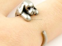 BronzeSilver Cocker Spaniel Dog Animal Wrap ring