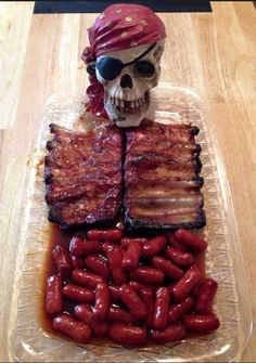 Skeleton Sausage with Ribs - what a fun idea for Halloween or Pirate themed party! This is how food at a Halloween party should be Humour Halloween, Soirée Halloween, Halloween Dinner, Halloween Goodies, Halloween Food For Party, Halloween Birthday, Halloween Treats, Halloween Buffet, Halloween Appetizers