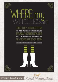 Printable Halloween Witch Invitation - Wicked Good Time. $15.00, via Etsy.