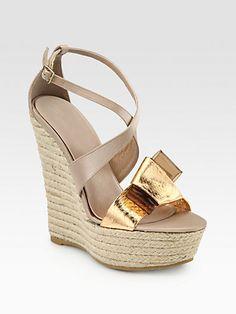 Hello my new summer shoe! : Burberry Prorsum - Osterley Snakeskin & Satin Espadrille Wedges - Saks.com