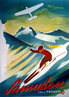 Vintage Travel Posters - Switzerland - Engadin Samaden Widmer Alfred #Winter sports