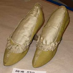 Shoes,  (1780 - 1789), Netherlands, Green twill, white leather, white ribbon trimmings and embroidery
