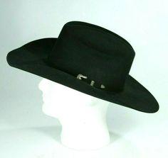 4f36ca22e5254 Resistol Ladies Black The Challanger Long Oval Cowboy Western Hat 7 3 8 5X  Felt