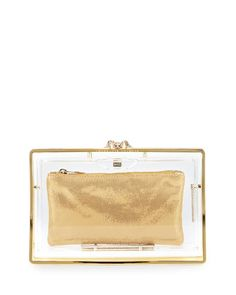 Stand Up Pandora Clear Clutch Bag by Charlotte Olympia at Neiman Marcus.
