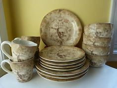 Skull Dinnerware Set | ... Skull Bump in the Night 16 piece Halloween Dinnerware set for 4, NEW