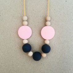 Wooden Beaded necklace on Waxed cotton cord - Navy | Pink | Yellow  Length: Approx. 50cm  Adjustable Length.  Enquire for custom colour options.
