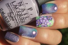 Spring violets nail art #purplenails #flowernails #nailart